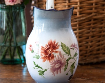 1940s French Enamel Water Pitcher - Japy - Pretty Flower - French Country Decor