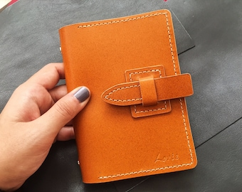 Leather Travel Notebook, Personalized Leather Journal, Custom Handstamped Initial Leather Journal, Personalized Gift, Christmas Gifts