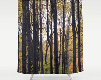 Shower curtain, forest shower curtain, tree shower curtain, nature art woodland photo shower curtain, fabric, brown green yellow
