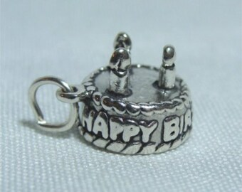 HAPPY Birthday CAKE Charm in Sterling SILVER