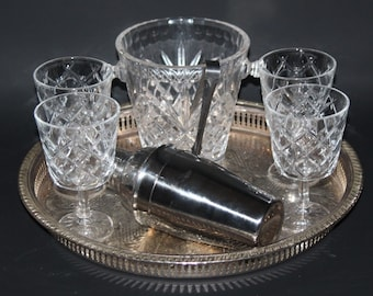 8 Piece Cocktail Set for 4 - Tray, Shaker, Glasses, Ice Bucket, Tongs - vgc
