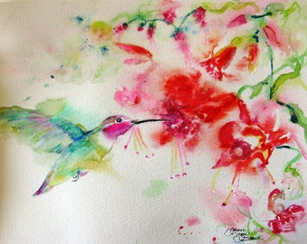 Hummingbird watercolor print, fuschia watercolor painting,impressionism art, flower painting,art print, wall decor,Janice Trane Jones