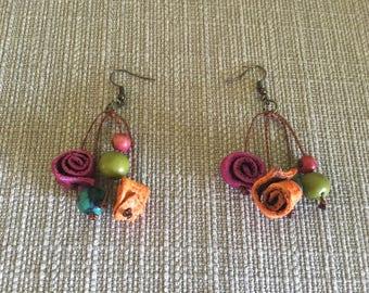 Orange Peel Earrings / Acai Earrings / Multicolored Orange Peel Jewelry