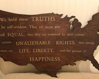Wooden US with Declaration of Independence - America - US- Independence- preambile