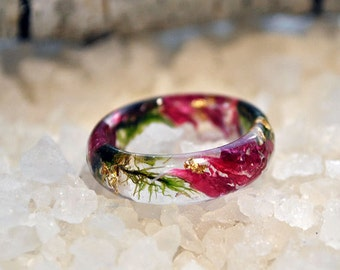 Nature rings Nature inspired rings  Resin rings Eco resin ring Unique rings Floral Wedding Ring