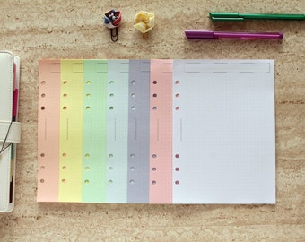 A5 rainbow inserts, dotted planner sheets, planner notepaper, coloured paper planner