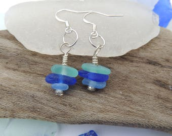 Sea Glass Blues Sea Glass Dangle Earrings, Authentic Sea Glass