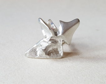 Börje Tennung, Modernist silver washed pewter ring, Sweden, 1970s (F953)