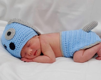 Crochet Puppy Hat and Diaper Cover Photo Prop