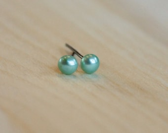 5mm Freshwater Green Pearls (Hypoallergenic - Your Choice of Nickel Free Niobium, Titanium, Surgical Steel for Sensitive Ears)