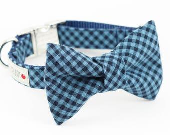 Blue Navy Gingham Dog Bowtie Collar