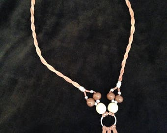 A hand made ceramic beads necklace