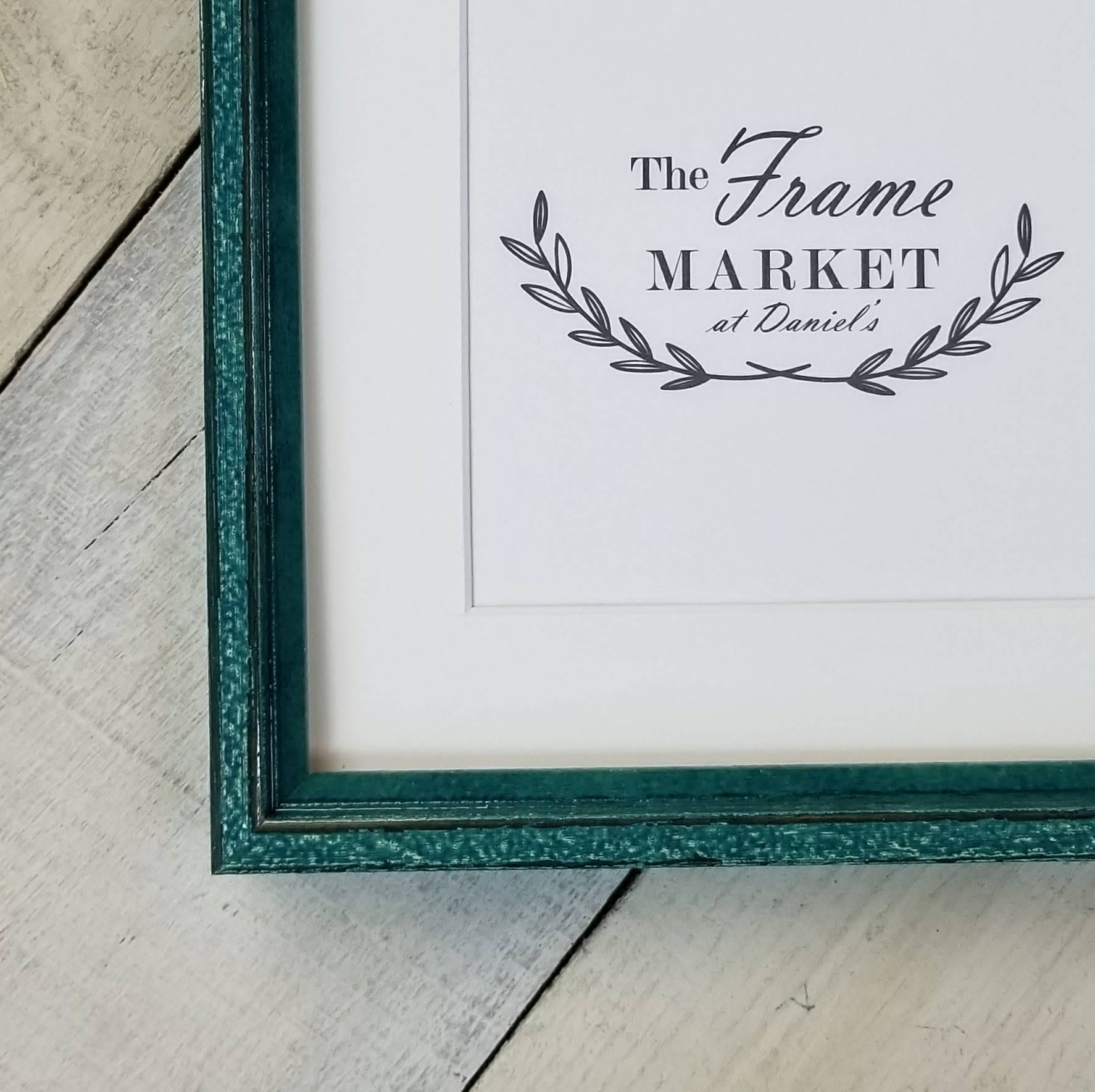 Prism Azure Blue Distressed Wood Picture Frame With White Mat
