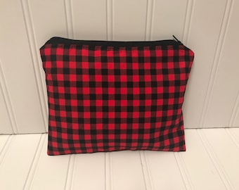 Black and Red Plaid Pouch | Handmade Zipper Pouch