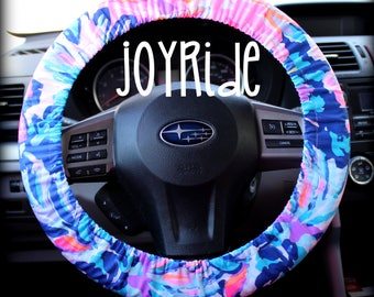 Steering Wheel Cover Lilly Pulitzer Off Tropic Club Fabric Fully lined with Grip Tight Designer Car Accessories Coral For Girls Woman