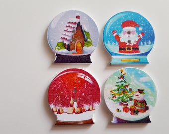 Set of 10 Christmas snow ball buttons