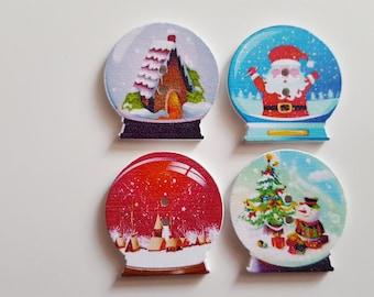 Set of 10 Christmas snow ball buttons