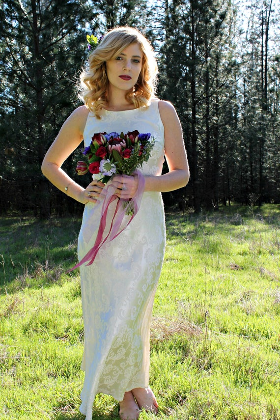 MIMOSA Vintage Wedding Dress 90's Off-White Satin Bridal