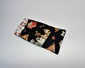 Eye Glass Case, Flex Frame Case, Cotton Dog Print