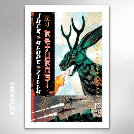 JACKALOPE-ZILLA RETURNS Limited Edition 13x19 Art Print by Rob Ozborne
