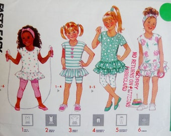 Vintage Girl's Ruffled Dress, Top, Leggins, Turban, Lower Ruffle, Butterick 3967 Sewing Pattern EASY Child Size 4 5 6 1980's