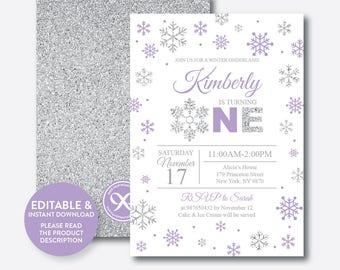 Instant Download, Editable Winter Onederland Birthday Invitation, Winter Wonderland Invitation, First Birthday, Purple and Silver (GKB.08B)