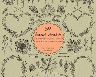 50 Hand Drawn Love Wreaths Digital Clipart - Valentine's Clipart - Wedding Floral - Heart Wreath - Chalkboard Wedding - Arrows-Laurels-Love