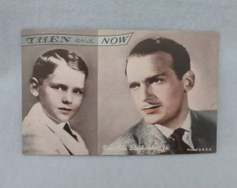 Vintage Mid Century Arcade Cards Then and Now Douglas Fairbanks, Jr.