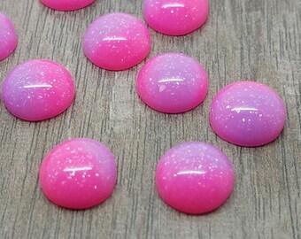 12mm Hot Pink and Purple Ombre Unicorn Cabochon - 10 pcs