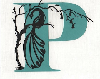 P is for Peacock - Print from original papercut art