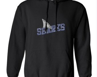 Rhinestone Team Name Sharks - Colors can be customized~ Pocket Front Hoodie