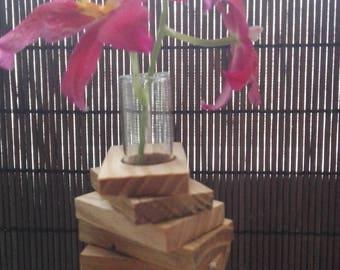 Test tube vase,Wooden flower vase with test tube, wooden bud vase,  flower vase, mini vase,  gift for mom