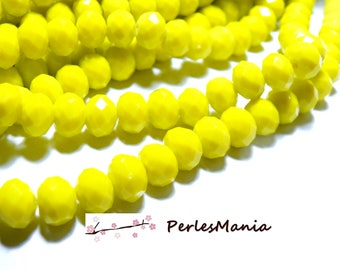 10 pearls 10 by 8mm color 11 yellow faceted glass Rondelles