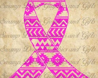 Aztec Cancer Awareness Ribbon cut file, silhouette, cricut, decal, svg, vinyl, pink, breast cancer