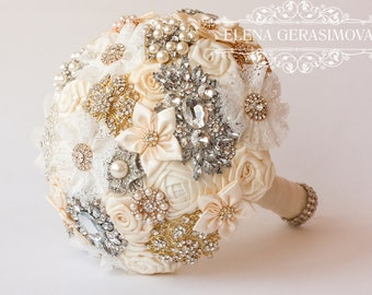 Brooch Bouquet. Gold silver Ivory Fabric Bouquet, Unique Wedding Bridal Bouquet