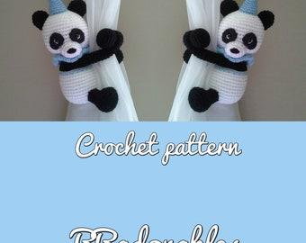 Panda-Lu curtain tieback crochet PATTERN, right or left panda tieback pattern PDF