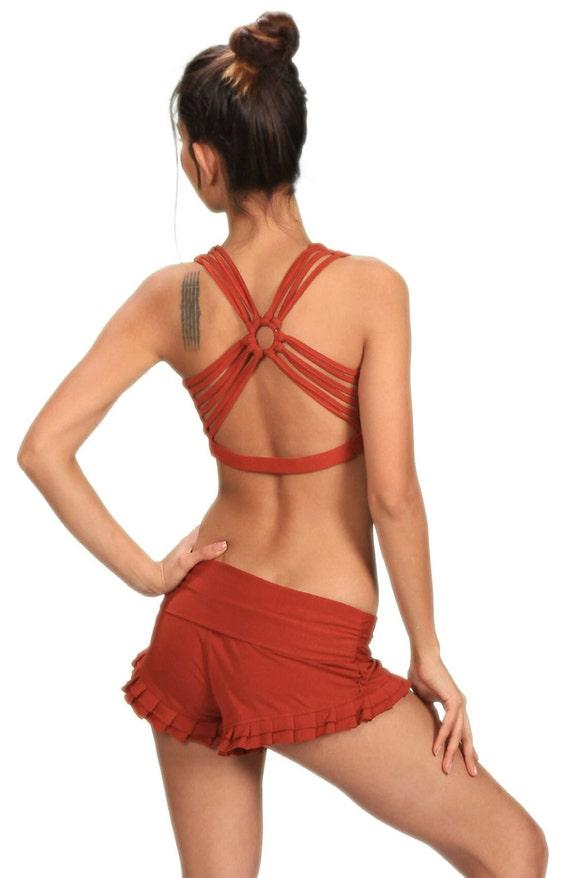 Shanti Yoga Strappy Woven Back Bra Tank Top in Rust