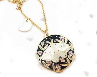 Floral Moth Pendant Necklace - Gold