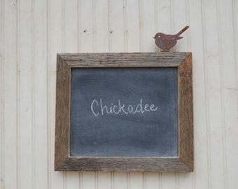 Metal Bird Chalkboard Memo Board 10 x 13 Small Frame Home Decor Chickadee Iron Birds Hand Lettering Garden Art Century Old Barn wood