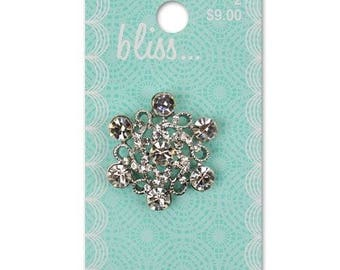 Large Bliss Crystal Swirl Shank Button