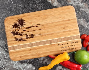 Personalized Wedding Gift, Personalized Cutting Board, Engraved Cutting Board, Bamboo Cutting Board, Palm Trees, Housewarming-12 x 8 D33