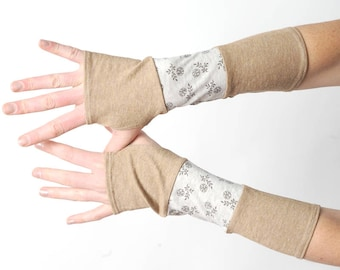 Beige floral armwarmers, Floral patchwork fingerless gloves, MALAM, Womens accessories
