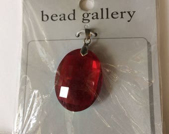 32x24mm, Ruby faceted, Oval, Glass Pendant