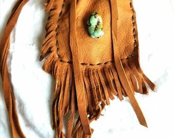 Tan leather medicine bag necklace, native american, boho, turquoise bead, fringe, gift, faux sinew, amulet bag