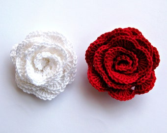 Crochet flowers appliques roses Red White Wedding decor crochet flowers Crochet rose Flowers motif Crochet embellishment Flower supplies