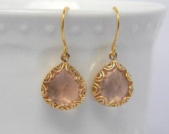 Peach Earrings - Peach Dangle Earrings - Bridesmaid Earrings - Bridesmaid Gift - Bridesmaid Jewelry - Gold Earrings - Champagne  Earrings -