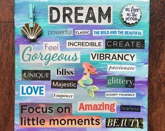 Mermaid Word Collage, Wall Art