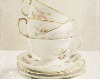 Vintage Teacup Photograph- Stacked Teacup Print, White Cream Home Decor, Kitchen Art, Cafe Art, Coffee Cups Print, Teacup Print, Shabby Chic