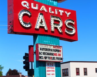 Retro Vintage Turquoise Blue Red Car Repair Shop Sign Milwaukee Wisconsin Fine Art Photo Print Home Wall Decor by Rose Clearfield on Etsy
