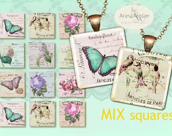 Shabby Chic Square tiles - ephemera - 2x2 Inch Scrabble tile Pendants, Magnets, Scrapbooking, and More...